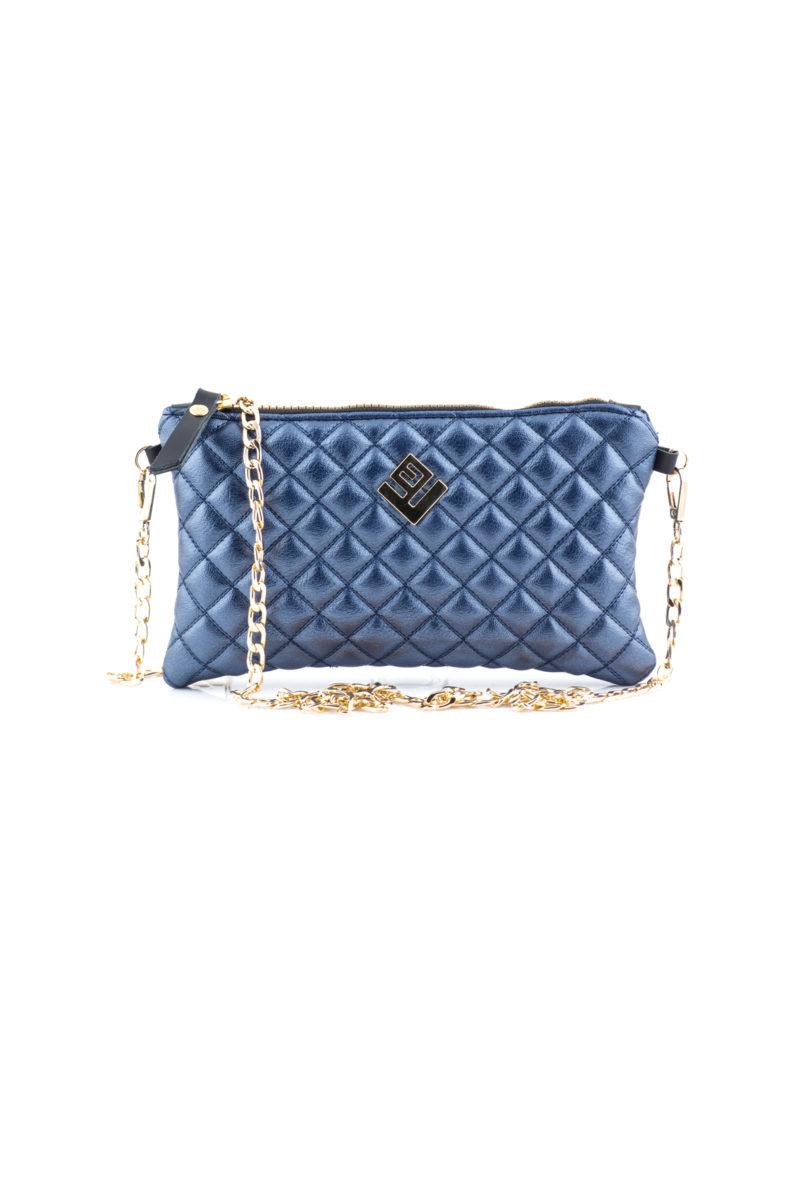 elegant remvi handbag metallic blue