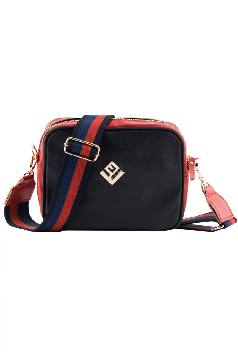 Favor Leather Shoulder Bag Black Red