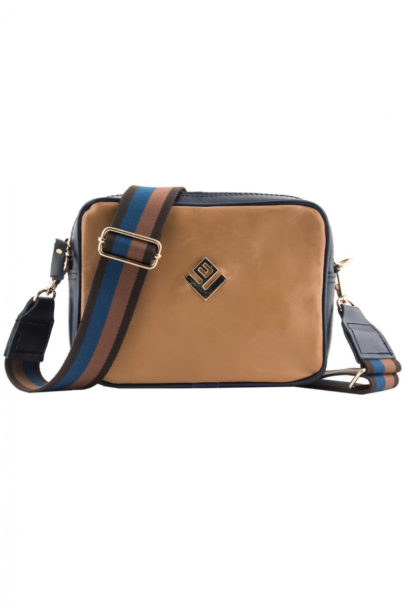 Favor Leather Shoulder Bag Tabac Blue